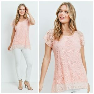 Flutter sleeve lace overlay tunic top peach
